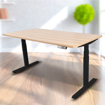 Bewell โต๊ะทำงานปรับระดับอัตโนมัติ BK160-OAK ขนาด 160 ซม. สีโอ๊ค