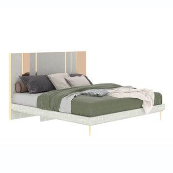 เตียงนอน ขนาด 6 ฟุต รุ่น The Emperor (LED) ลายไม้สีอ่อน -01