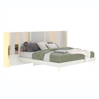 เตียงนอน ขนาด 6 ฟุต รุ่น The Emperor (LED) ลายไม้สีอ่อน