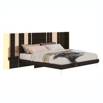 เตียงนอน ขนาด 6 ฟุต รุ่น The Emperor (No LED) ลายไม้สีเข้ม